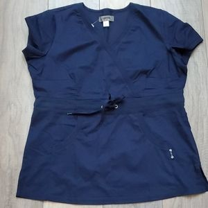 NWT Koi Navy Blue Scrub Top Women's Size Large